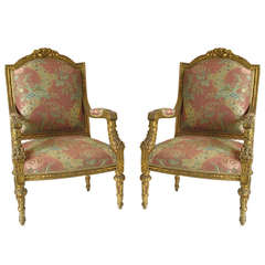 Antique Pair of Gold Gilded Armchairs
