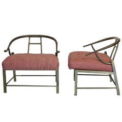 Pair of Mastercraft Chinese Style Brass Chairs