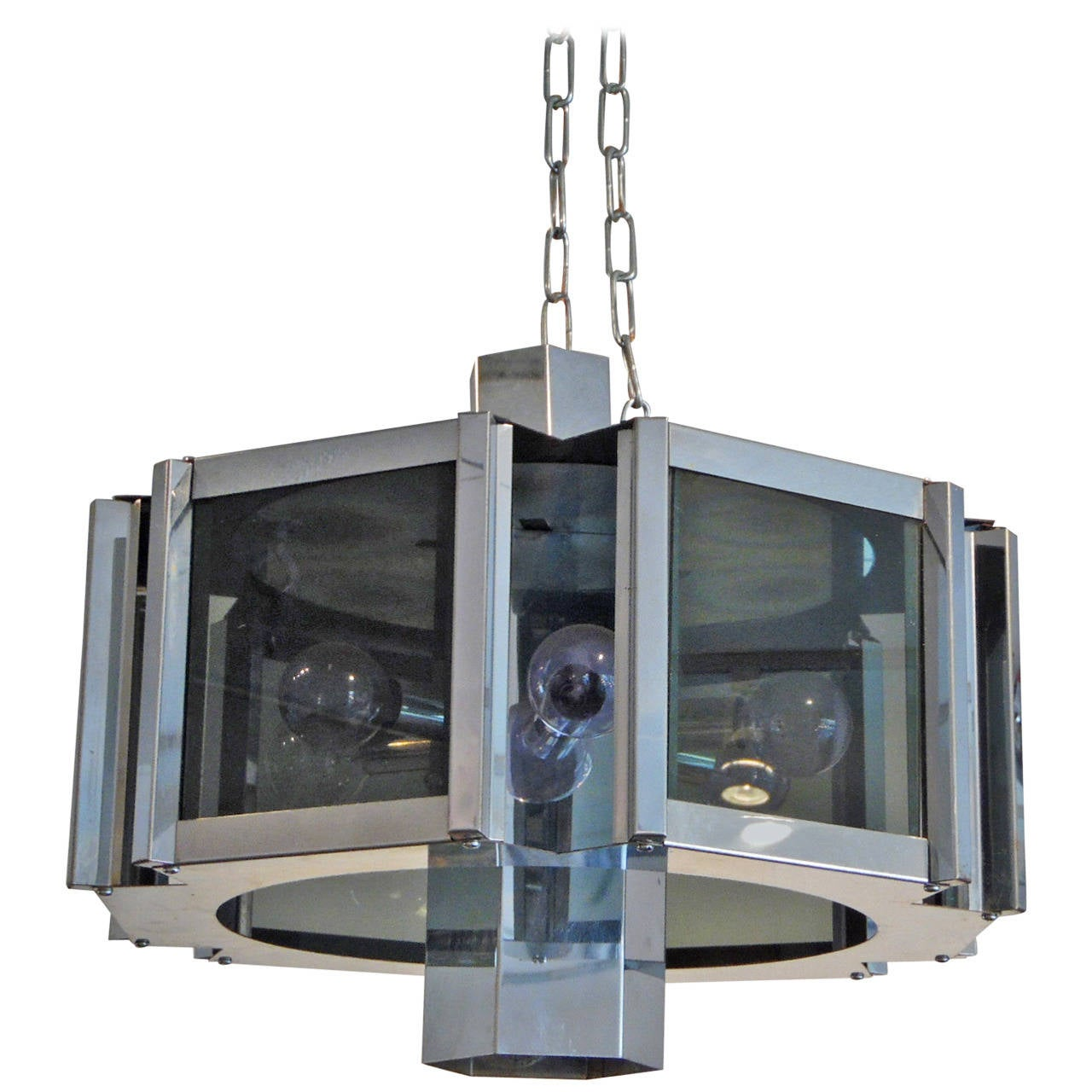 Modernist Chrome and Smoked Glass Chandelier by Robert Sonneman