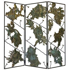 Spill Cast Bronze Screen/Room Divider in the Style of Seandel