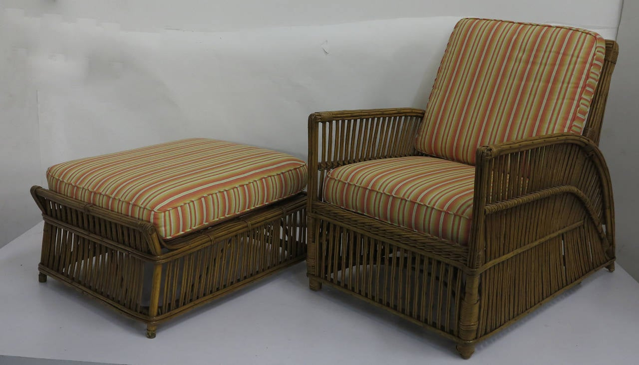 Reed Lounge Chair With Ottoman 1930s At 1stdibs