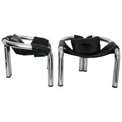 Byron Botker Sling Seat Chrome Palo Alto Lounge Chairs