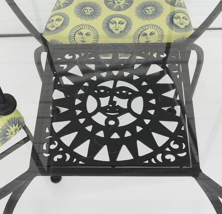 Mid Century Modern Sunface Wrought Iron Patio Set For