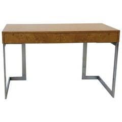 Modernist Burl Wood Desk by Milo Baughman