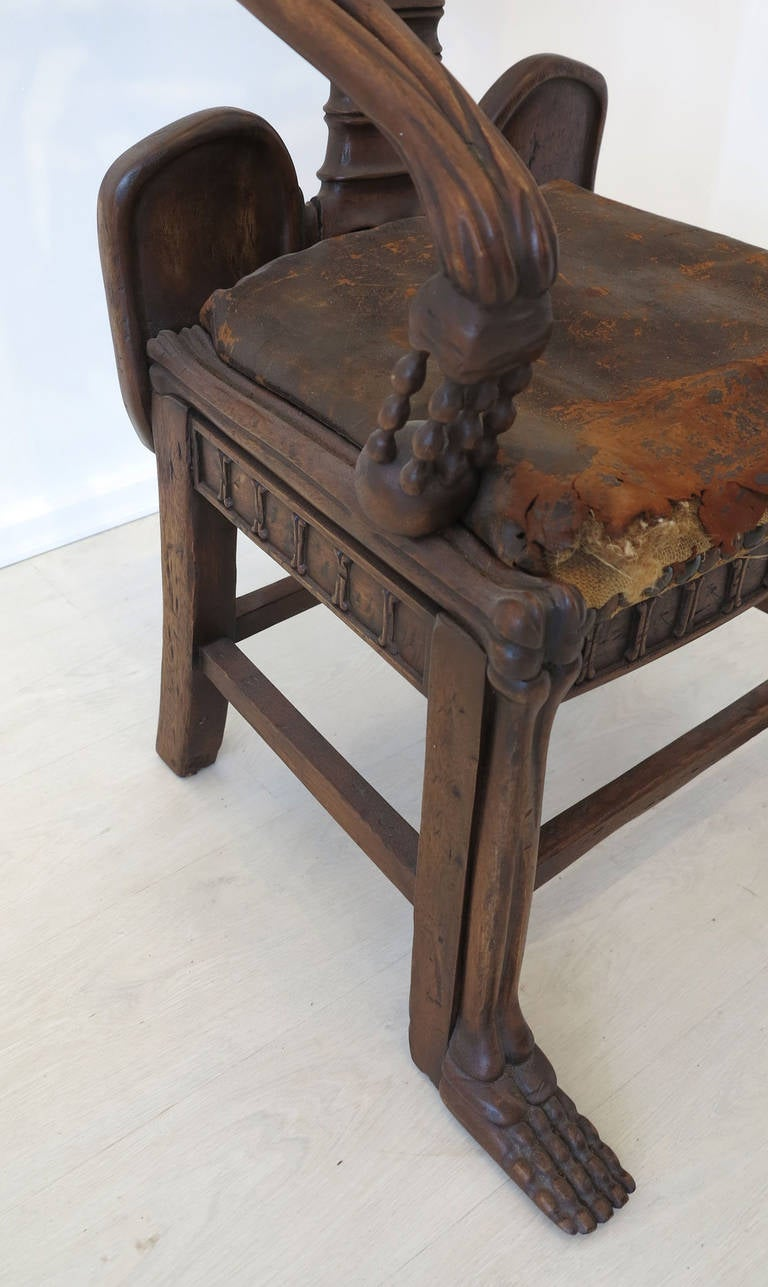 Leather 19th Century Rare Skeleton Chair