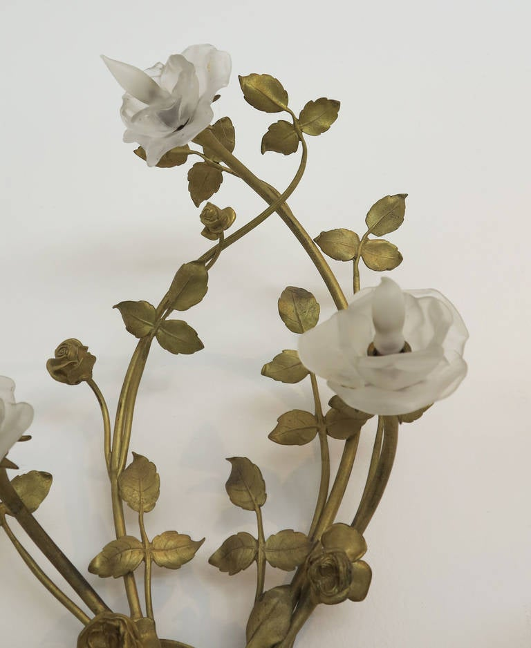 Wall Sconces With Branches : Pair of Bronze Rose Branch Wall Sconces at 1stdibs