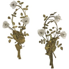 Pair of Bronze Rose Branch Wall Sconces