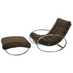 Renato Zevi Ellipse Chair and Ottoman in the Style of Milo Baughman