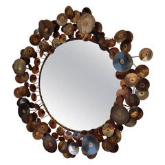 """Brass and Copper """"Raindrops"""" Mirror by Curtis Jere"""