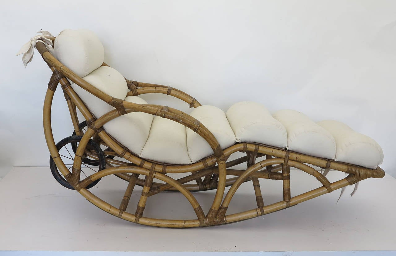 Vintage Rattan Chaise Lounge Rocking Chair, Circa 1930s 2