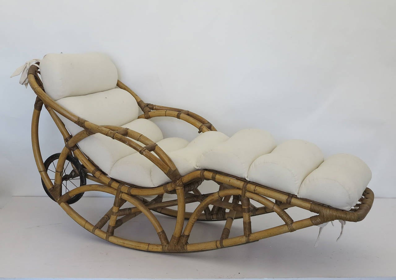 American Vintage Rattan Chaise Lounge Rocking Chair, Circa 1930s For Sale