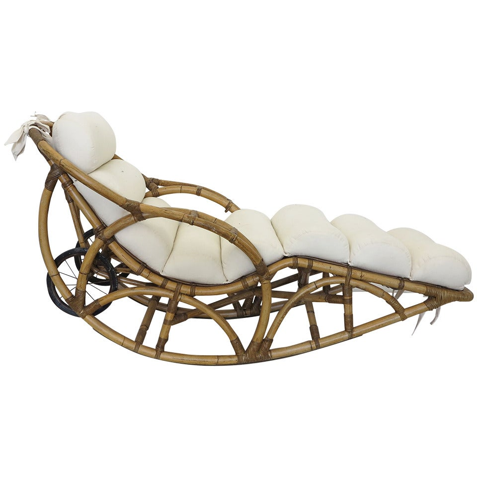 Vintage rattan chaise lounge rocking chair circa 1930s at for Antique chaise longe