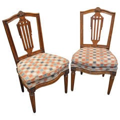 Pair of Louis XVI  Antique Fruitwood Chairs