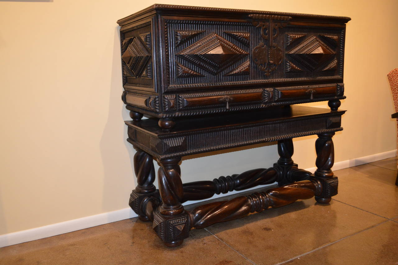 Carved Portuguese Antique Baroque Chest in Solid Brazilian Rosewood For Sale