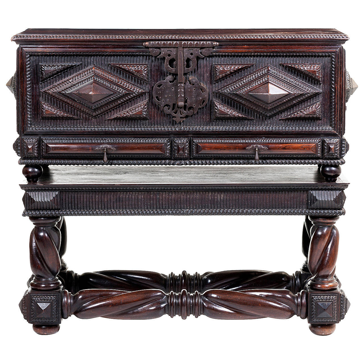 Portuguese Antique Baroque Chest in Solid Brazilian Rosewood For Sale