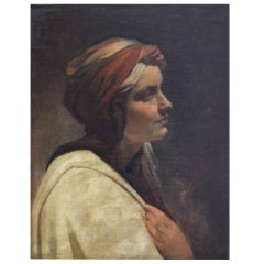 """Jeune Femme au Turban""  by Hippolyte de la Charlerie. Original gilded frame"