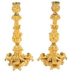 Pair of Gilded Bronze Candleholders