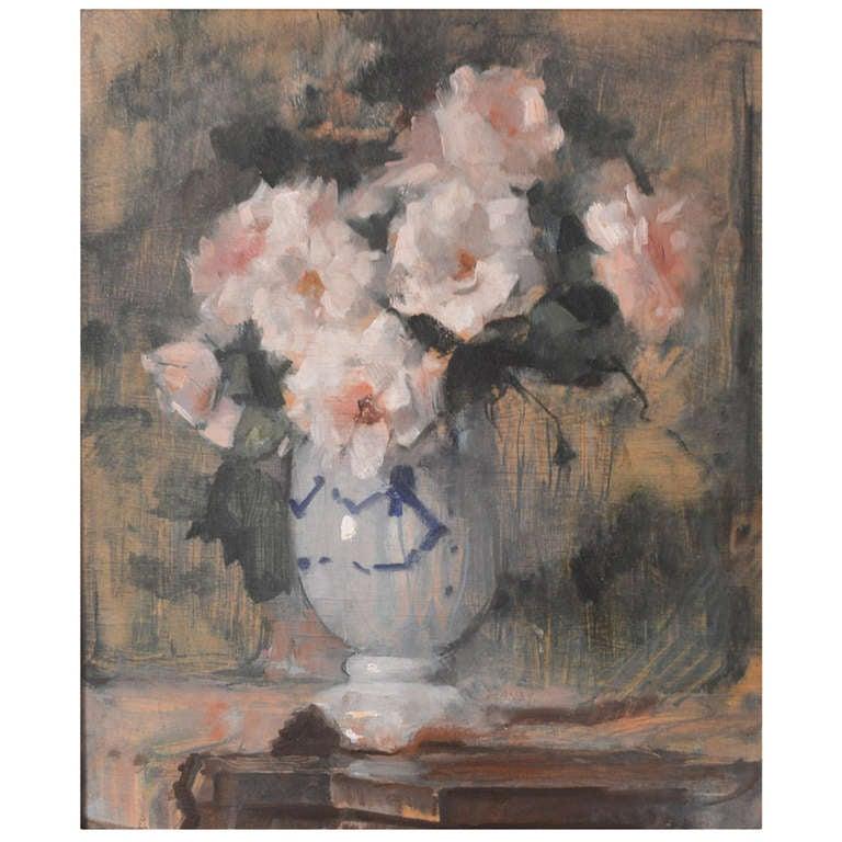 """""""White Roses"""" oil on board"""