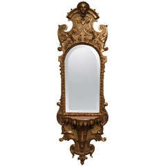 Antique Italian Gilded Mirror with Console