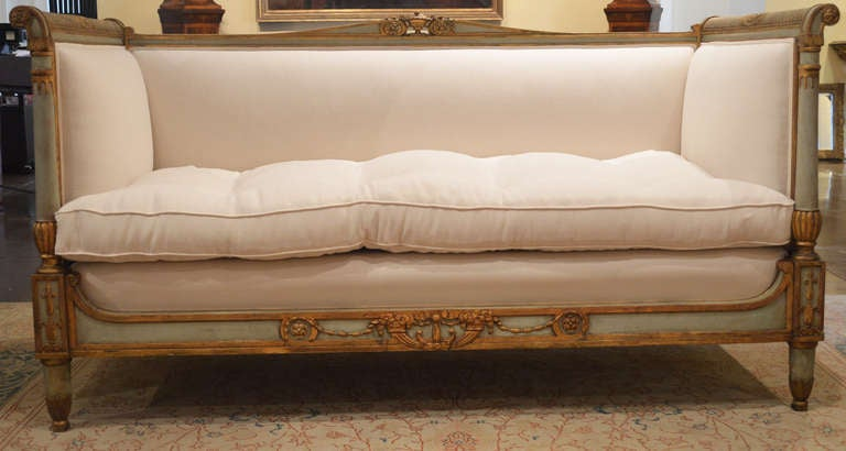 Rare French Directoire Sofa With Belgian Linen And Caned Sides.