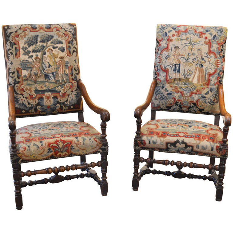 Two antique louis xiv style chairs with 17th century tapestry at 1stdibs - Louis th chairs ...