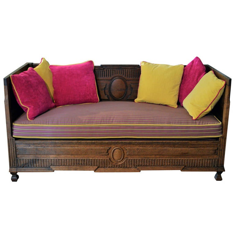 French Antique Sofa in Solid Oak For Sale