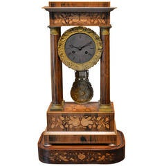 19th Century, Marquetry Inlay Clock
