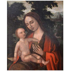"Oil on Board ""The Virgin with Child"""