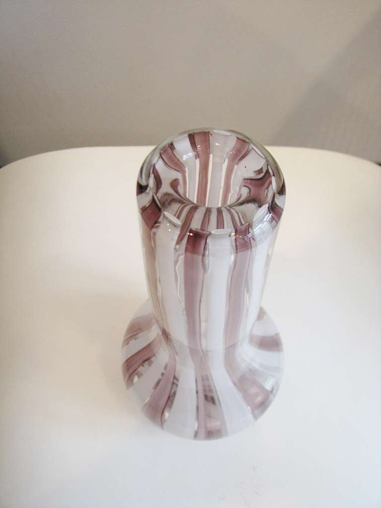 Mid-Century Modern Very Heavy Pink and White Murano Glass Vase For Sale