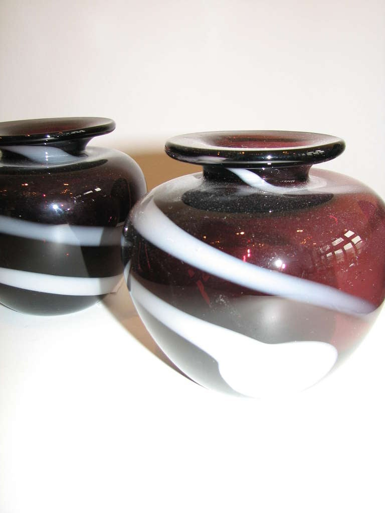 Mid-Century Modern Pair of Purple Striped Vases For Sale