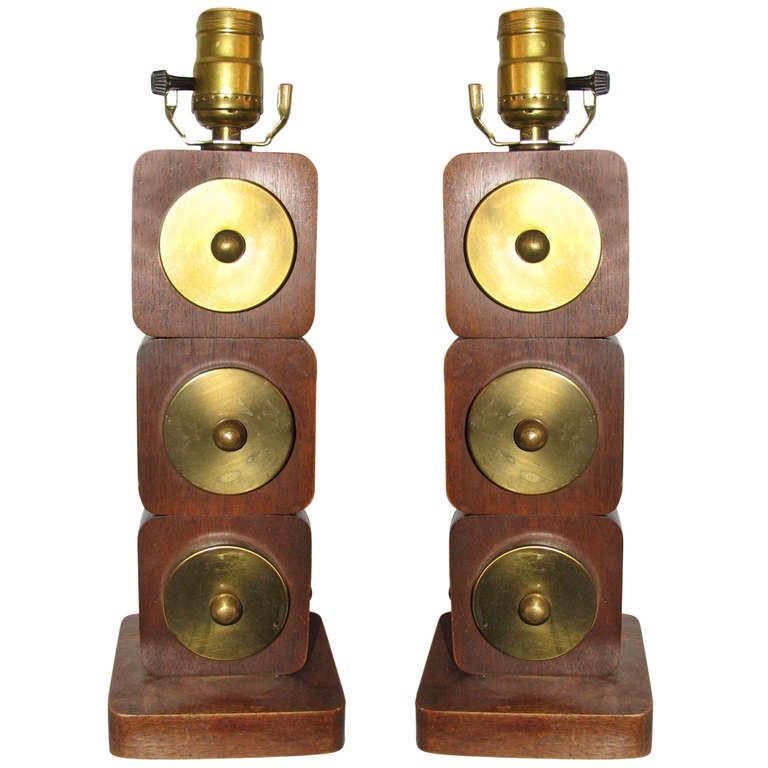 Pair of Wood and Brass Lamps For Sale