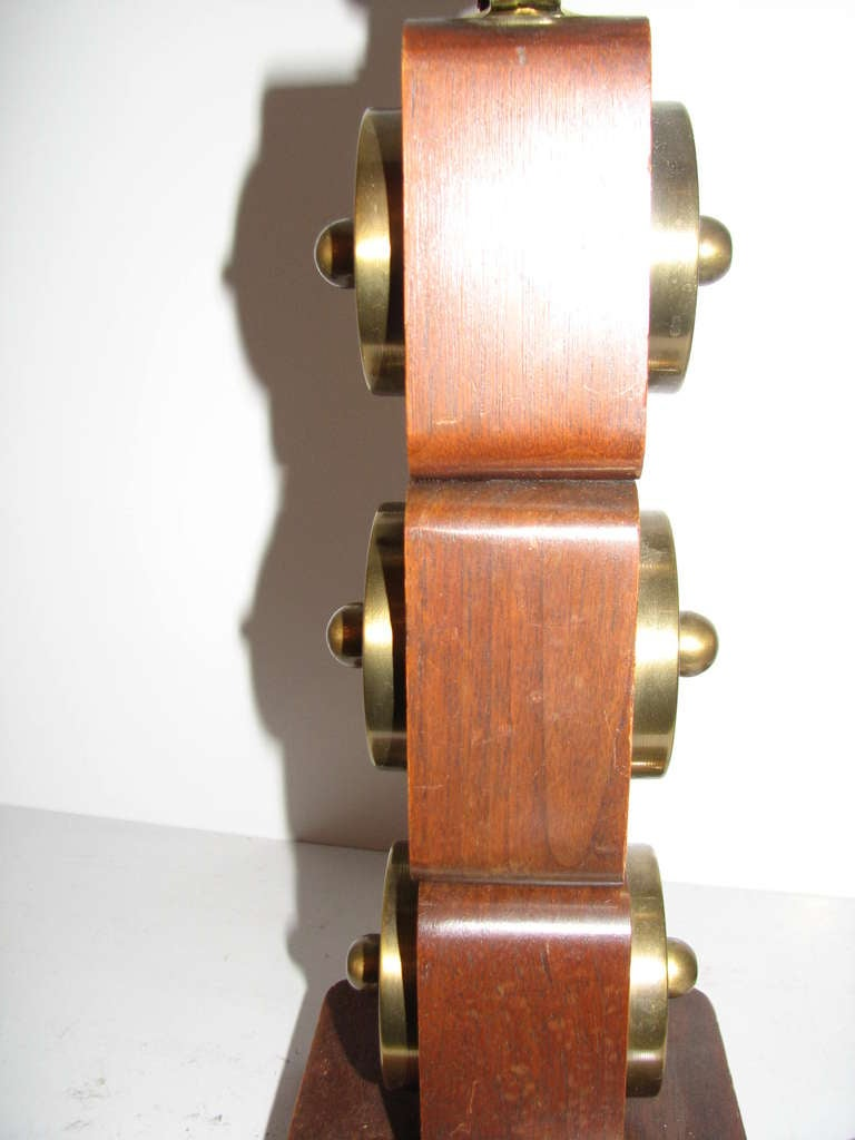 Art Deco Pair of Wood and Brass Lamps For Sale