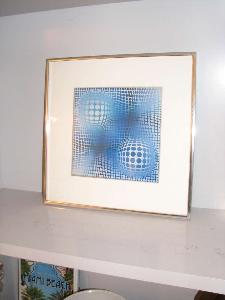 Vasarely Style Print in Chrome Frame 2