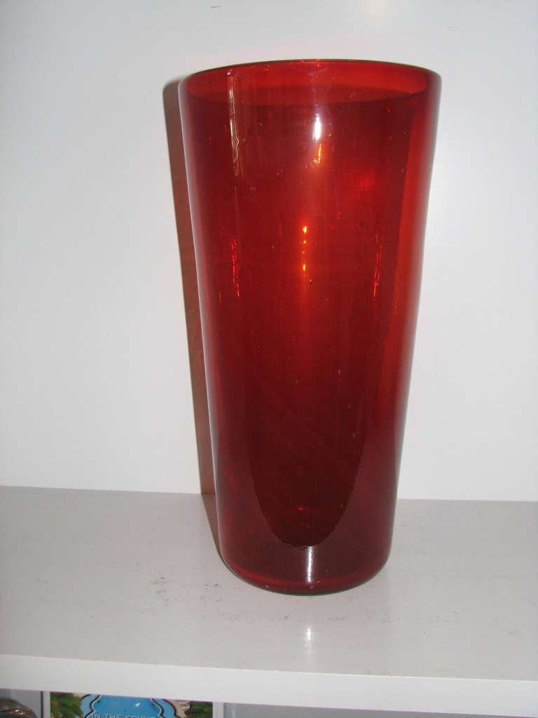 Tall Red Blenko Vase At 1stdibs