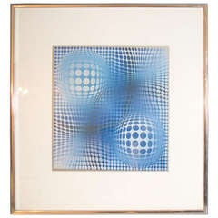 Vasarely Style Print in Chrome Frame