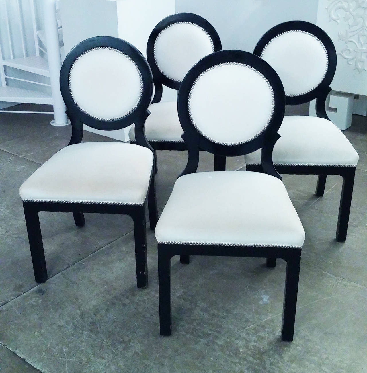 Set of four hollywood regency black and white circle back for Black dining sets with 4 chairs