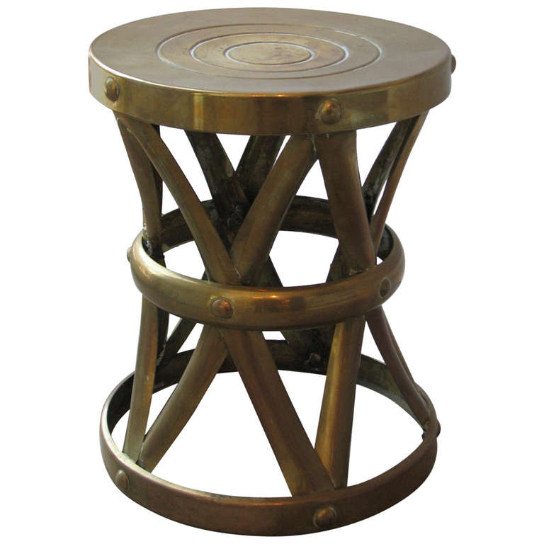 Brass drum side table at 1stdibs for Drum side table