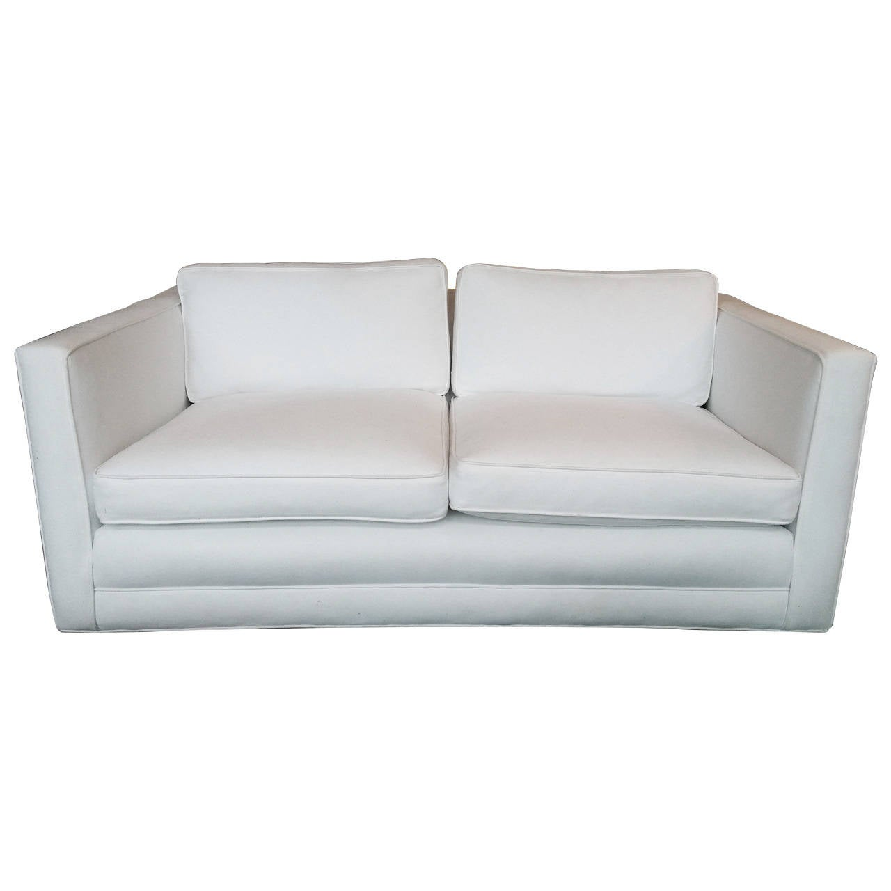 White Upholstered Low Back Loveseat At 1stdibs