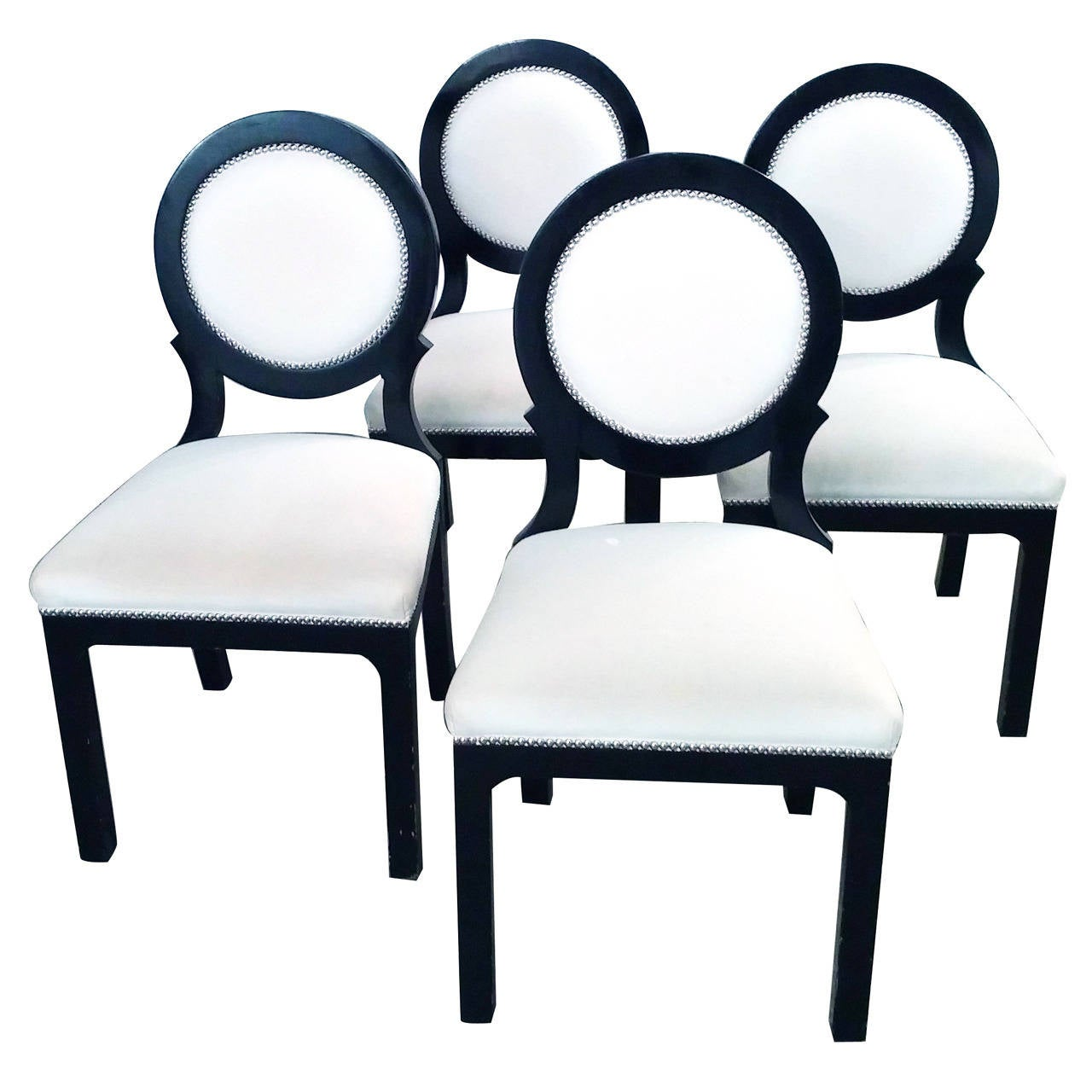 Bon Set Of Four Hollywood Regency Black And White Circle Back Dining Chairs For  Sale
