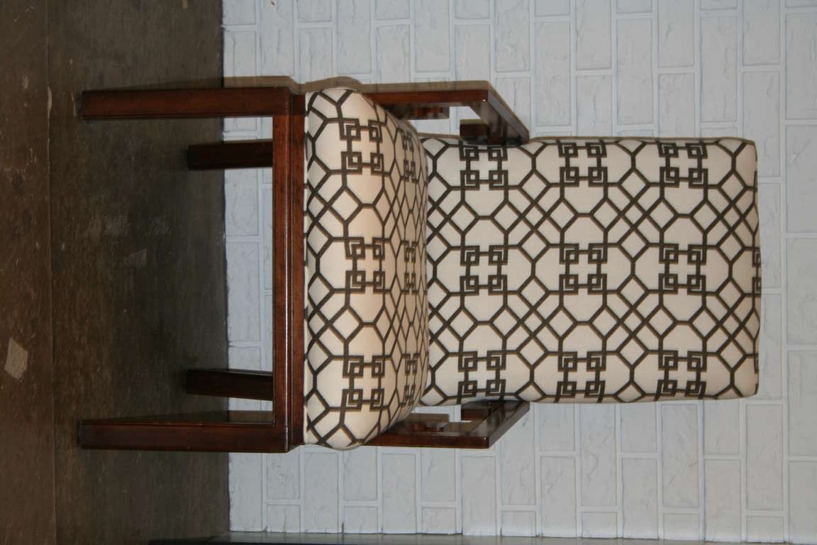 Hollywood Regency Pair of Greek Key Arm Chairs with Chinese Chippendale Fabric