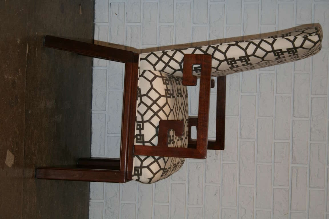American Pair of Greek Key Arm Chairs with Chinese Chippendale Fabric