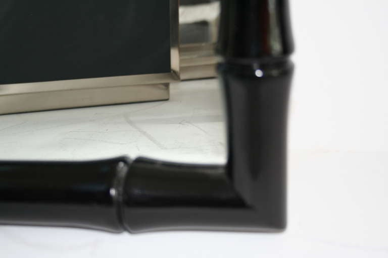 Hollywood Regency Black Lacquered Chinese Chippendale Mirrors For Sale