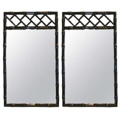 Black Lacquered Chinese Chippendale Mirrors