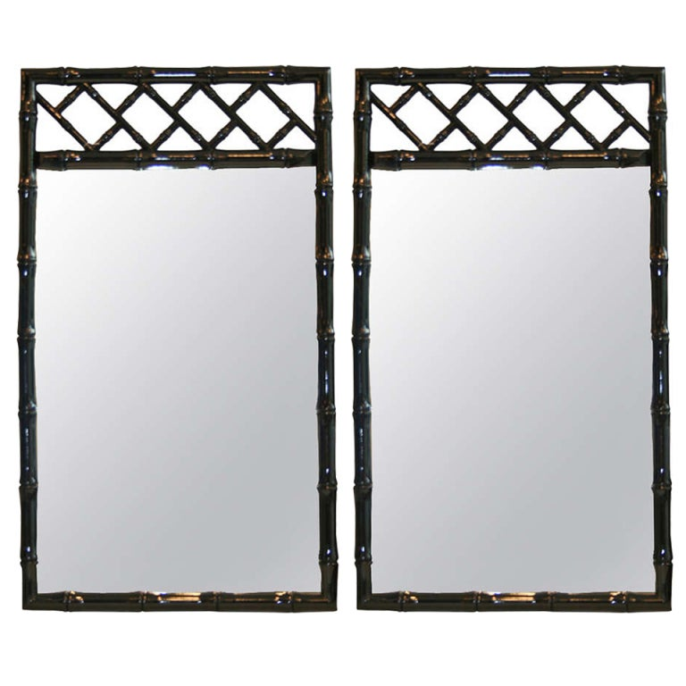 Black Lacquered Chinese Chippendale Mirrors 1