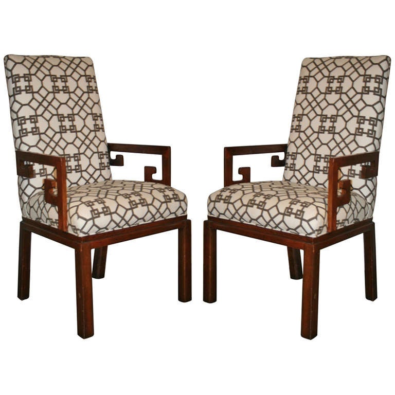 Pair of Greek Key Arm Chairs with Chinese Chippendale Fabric