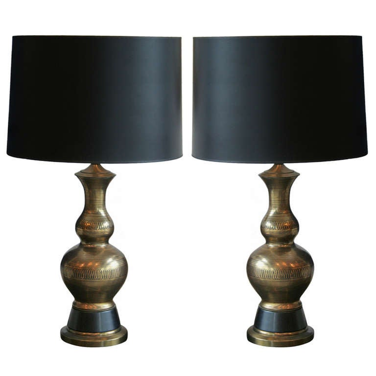 pair of gold and black metal table lamps at 1stdibs. Black Bedroom Furniture Sets. Home Design Ideas
