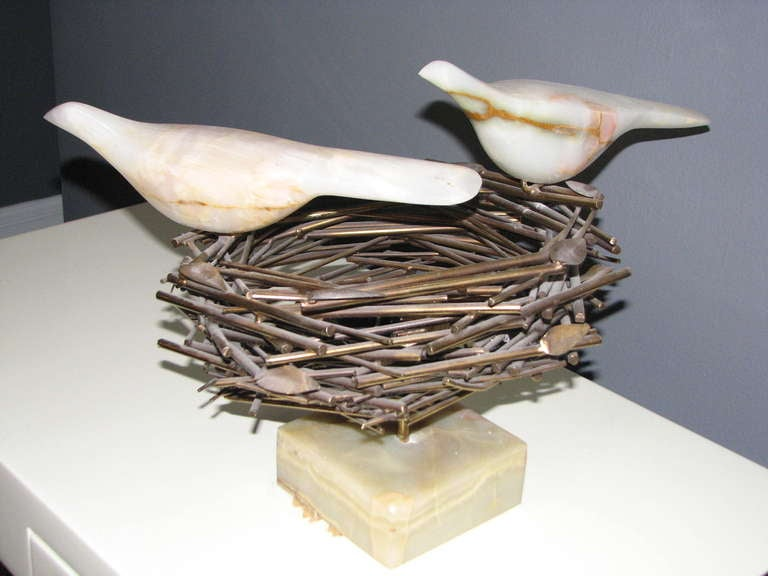 Rare Curtis Jere mixed-material Sculpture Bird Nest, Birds and Eggs; signed. 2