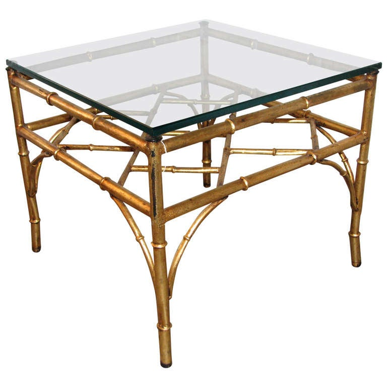 Italian Gilt Chinese Chippendale Style Occasional Table For Sale