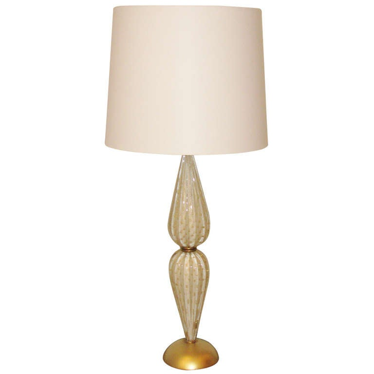 White And Gold Murano Glass Lamp At 1stdibs