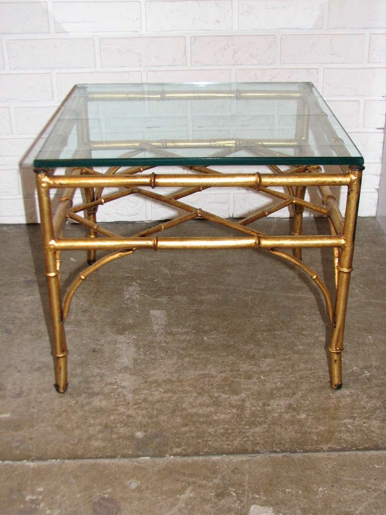 Hollywood Regency Italian Gilt Chinese Chippendale Style Occasional Table For Sale